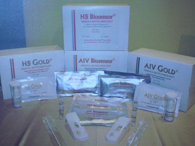 ชุดทดสอบไข้หวัดนก H5 และ AIV ในแบบ Rapid Immunochromatographic Test Kit และแบบ Biosensor